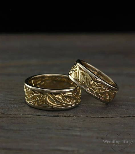 antique wedding bands for him his and her vintage style wedding bands set two tone gold
