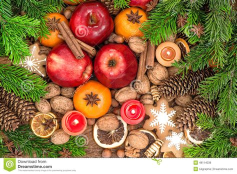 christmas showcase round shops and nuts food backdround fruits cookies spices and nuts stock photo image 48114038