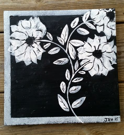 black and white painting ideas altered canvas painting black white flowers youtube