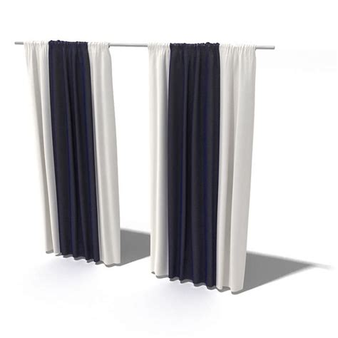 Long Black And White Curtains 3d Model Cgtrader Com
