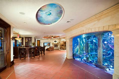 Entertainment Room with Aquarium Wall