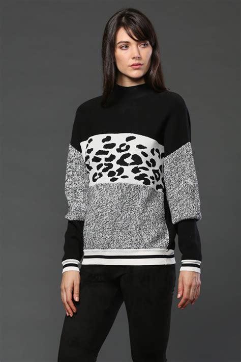 Animal Print Pullover Dress animal print tri color pullover sweater modishonline
