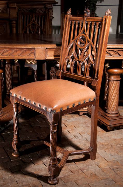 vintage dining room set antique neogothic style dining room set of carved walnut