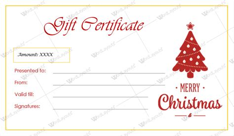 christmas gift certificate templates for word editable