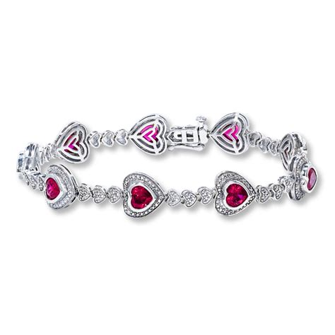 lab created ruby bracelet accents sterling