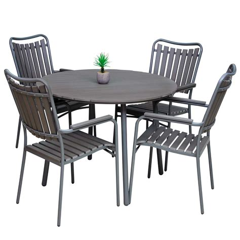 table ronde bois jardin ensemble de jardin marron table ronde et 4 fauteuils malo