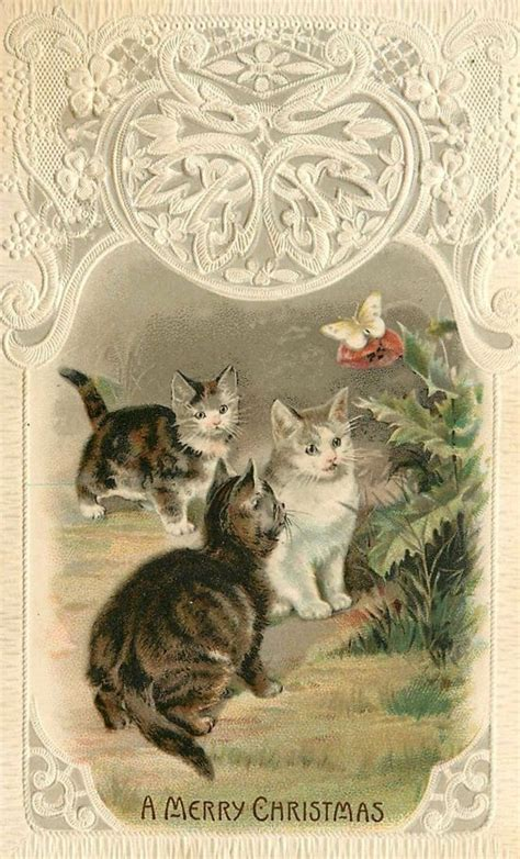vintage christmas postcard cats vintage christmas cards vintage holiday postcards vintage