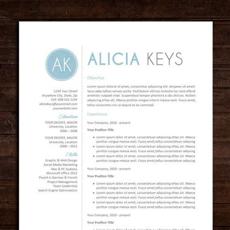 resume cv template the alicia resume design in blue