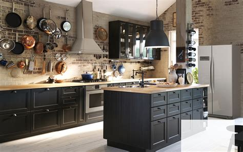 Create Classic Drama With Black Brown And Oak Ikea Ikea Black Kitchen Cabinets