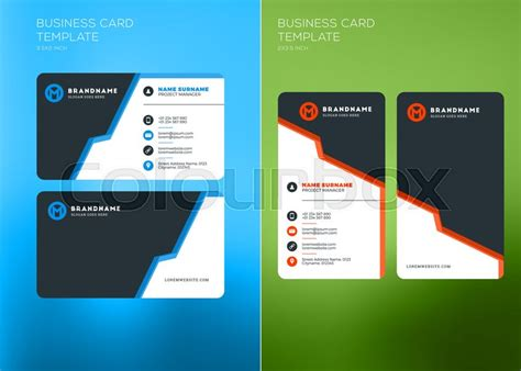 horizontal card template corporate business card print template vertical and