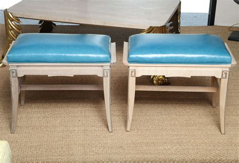 turquoise leather bench a pair of turquoise leather regency pagoda design stools