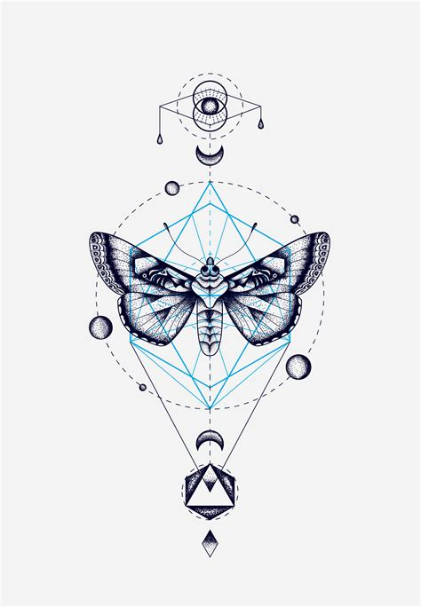 geometric line tattoo moth geometric totem cocorrina