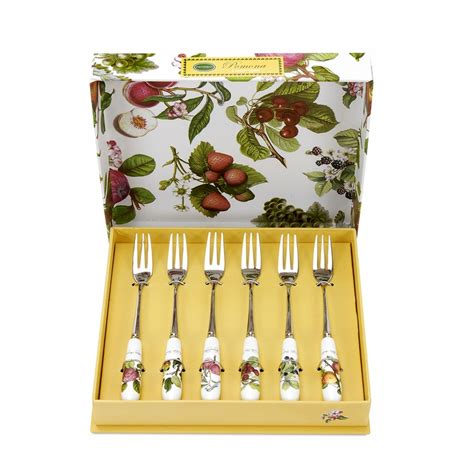 Portmeirion Botanic Garden Pastry Forks Set Of 6 Pomona Set Of 6 Pastry Forks Assorted Motifs By Portmeirion