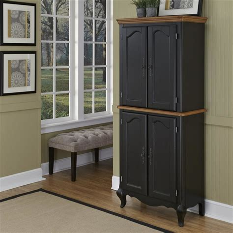 Black Pantry Cabinets by Oak And Rubbed Black Pantry Traditional Pantry