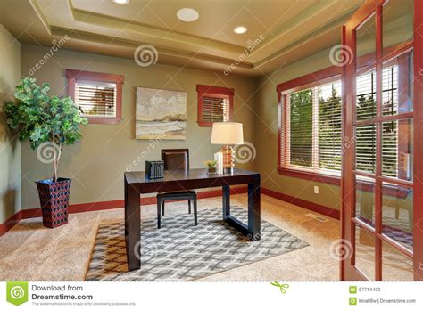 luxury home office desk luxury home office with green interior paint stock photo