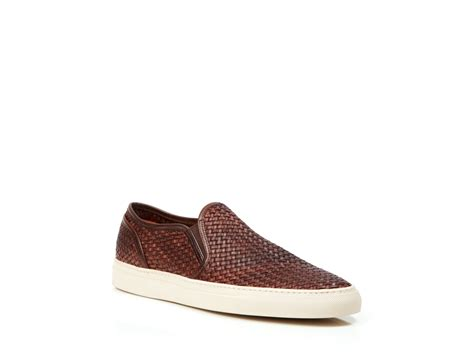 slip on sneakers for buttero leather weave slip on sneakers in brown for lyst