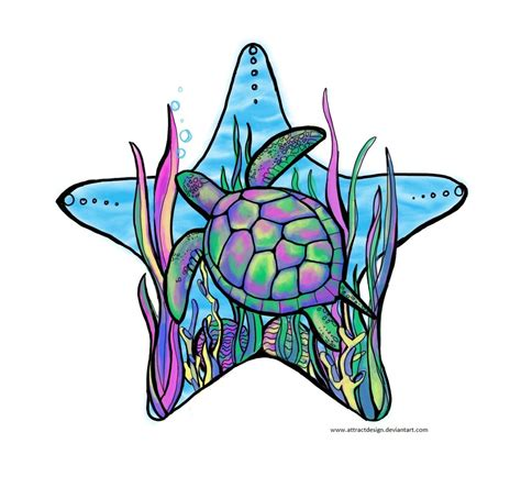 rainbow sea turtle by ayeri on deviantart