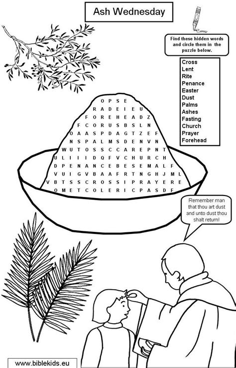 lent coloring pages printable ash wednesday word search lenten season ideas
