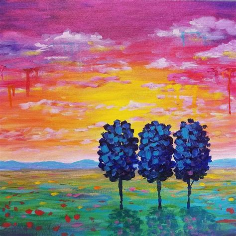 acrylic painting lessons for beginners easy sunset landscape drip trees live beginner acrylic