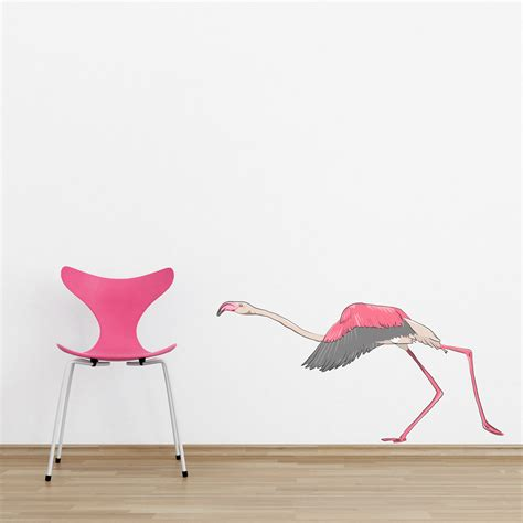 flamingo wall stickers running flamingo printed wall decal