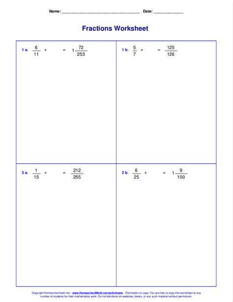 Adding Fractions Worksheets Free by Worksheets For Fraction Addition