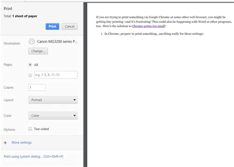 print layout view too small is google chrome printing too small here s the solution