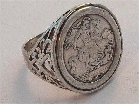 vintage sterling silver mens st georges sovereign ring