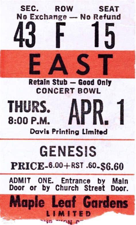 genesis tickets genesis ticket maple leaf gardens toronto 1st