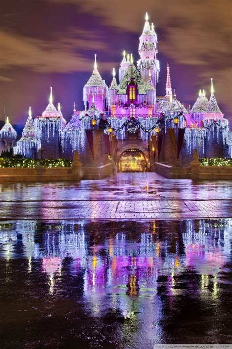 sleeping beauty castle christmas  disneyland ultra hd desktop background wallpaper   uhd