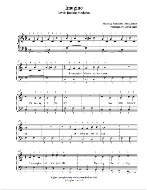 tutorial piano john lennon imagine imagine by john lennon piano sheet music rookie level