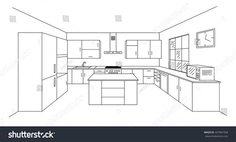 kitchen design drawings and interior design photos by joan sketch modern kitchen plan island single stock vector