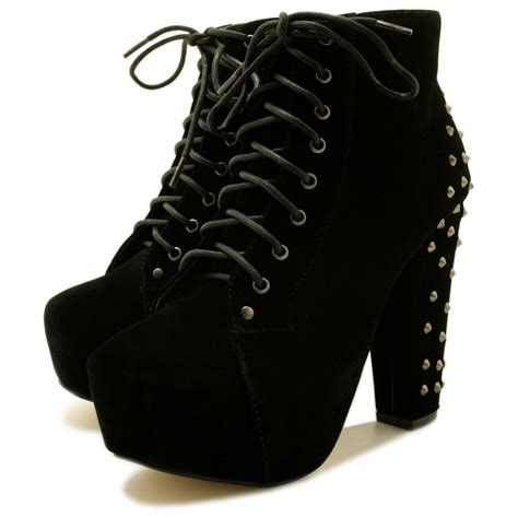 kyla studded block heel lace up concealed platform ankle