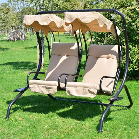 lawn swing outdoor patio swing canopy 2 person seat hammock bench