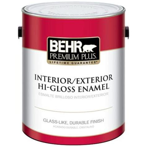 high gloss paint behr premium plus 1 gal ultra pure white hi gloss enamel