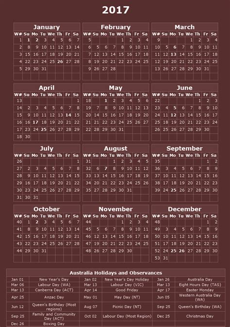 printable calendar 2016 western australia australia printable calendar 2017 with holidays 2018