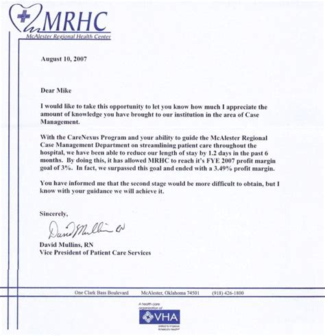 Reference Letter For Nursing Client S Letters Hospital Management Llc