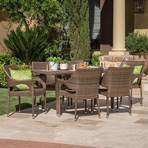 mar patio furniture 7 outdoor patio mixed mocha wicker dining set home patio and