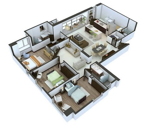 home design 3d 25 more 3 bedroom 3d floor plans architecture design