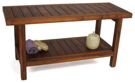 spa benches aqua teak spa bench with shelf 36 in wide multicolor