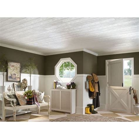wood ceilings lowes shop armstrong 20 pack 6 in x 48 in country classic plank