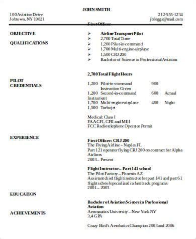 Airline Resume Format by 6 Sle Pilot Resumes Sle Templates