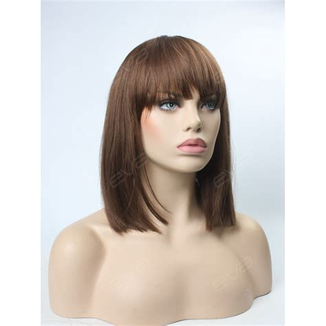 Lob With Bangs Wigs | evahair special medium length straight lob with bangs