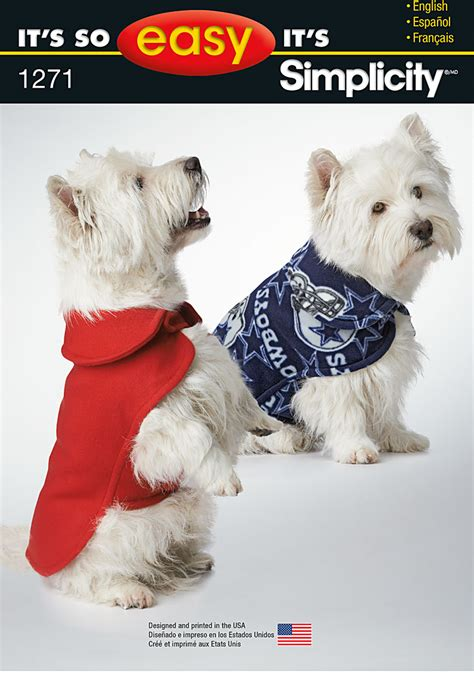 easy pattern for dog coat simplicity 1271 it s so easy dog coat in three sizes