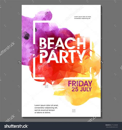 Summer Night Party Vector Flyer Template Eps10 Design Polygonal Graphic Watercolor Spot Graphic Flyer Templates Free