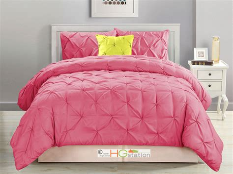hot pink comforter 4 pc diamond ruched pinched pleated ruffled pintuck