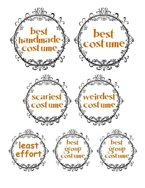 Halloween Sweepstakes - halloween costume prize tags cute idea