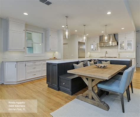 kitchens with island benches white cabinets with a walnut kitchen island omega