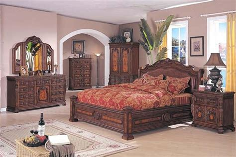 wood bedroom set brown solid wood finish traditional bedroom set