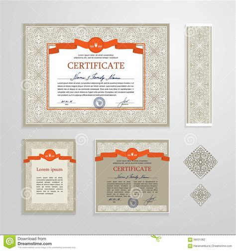 certificate diploma design template stock vector image