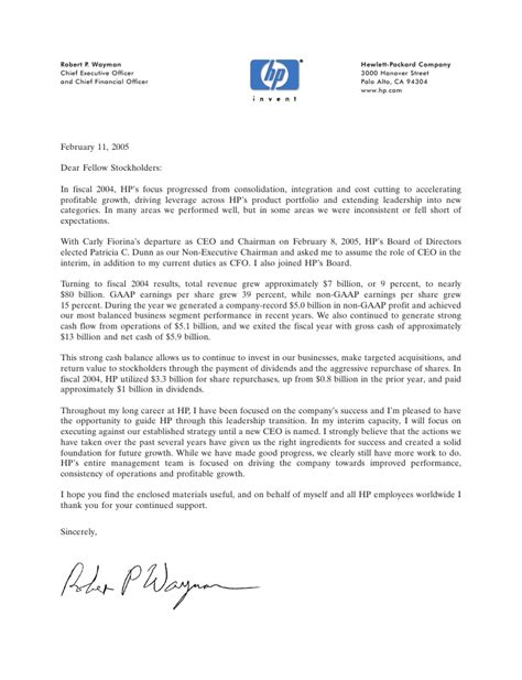 Hp Letter From Bob Wayman Hp Letter Template